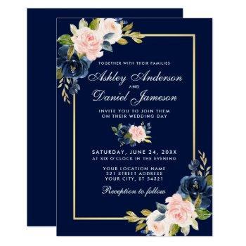 elegant pink blush blue floral wedding gold frame invitation