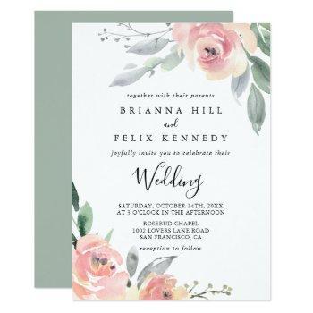 elegant pink blush floral front & back wedding invitation