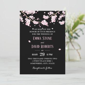 elegant pink floral cherry blossom wedding invitation