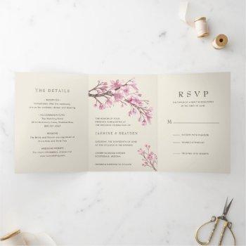 elegant pink floral cherry blossom wedding tri-fold invitation