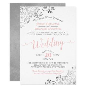 elegant pink & gray virtual wedding livestream invitation