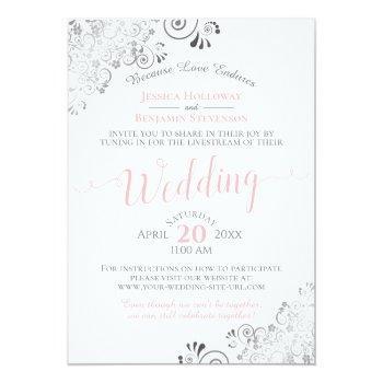 Small Elegant Pink & Gray Virtual Wedding Livestream Invitation Front View