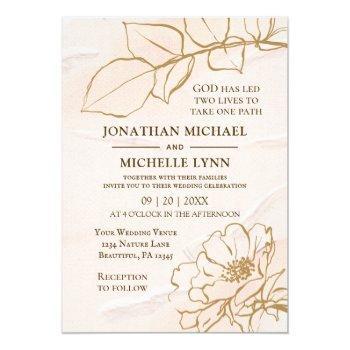 elegant pink mustard rose leaves christian wedding invitation