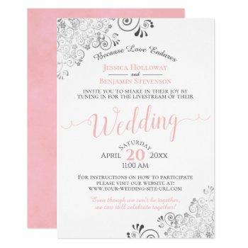 elegant pink on white wedding livestream invitation