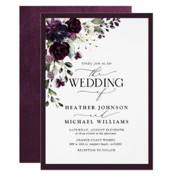 elegant plum purple floral watercolor script invitation
