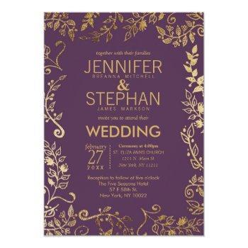 elegant plum purple gold floral wedding invitation