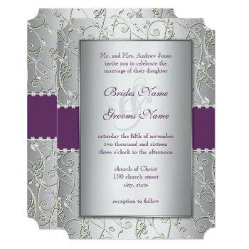 elegant plum silver swirl wedding invitations