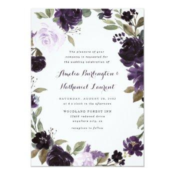 Small Elegant Purple And Gold Green Leaf Floral Wedding Invitation Front View