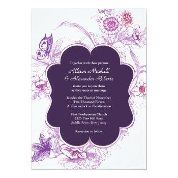 elegant purple butterfly wedding invitation