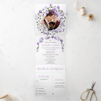 elegant purple peony floral wedding  tri-fold invi