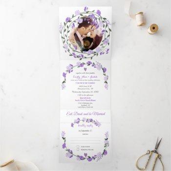 elegant purple peony floral wedding  tri-fold invitation