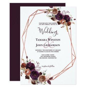 elegant purple rose gold floral geometric wedding invitation