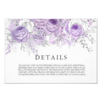 elegant purple sparkle flowers wedding details invitation