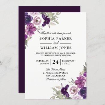 elegant purple violet floral winter wedding invitation