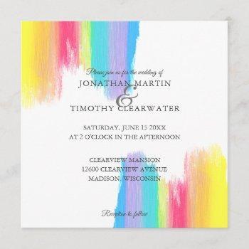 elegant rainbow watercolor paint summer wedding invitation