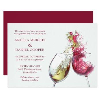 elegant red and white wine dance wedding invitation