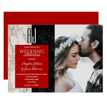 elegant red black and white marble wedding photo invitation