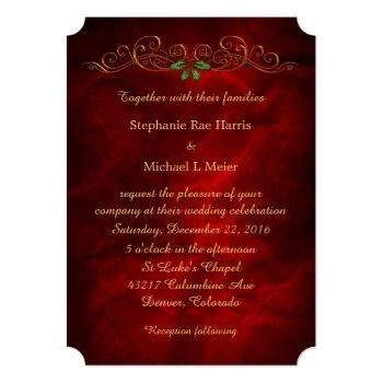 elegant red holly christmas wedding invitation