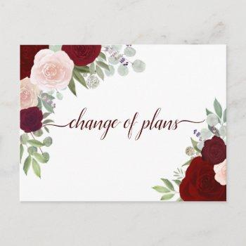 elegant red & pink roses change of wedding plans announcement postcard
