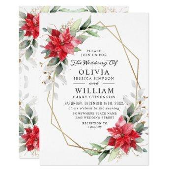 elegant red poinsettia winter greenery wedding invitation