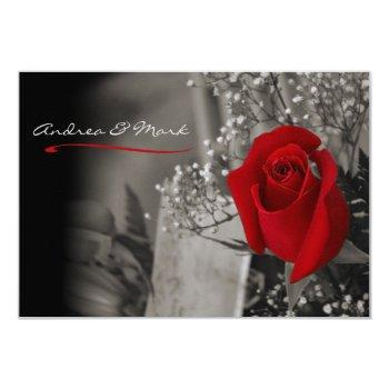 elegant red rose black and white wedding invitation