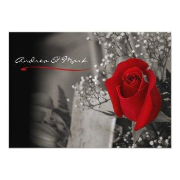Small Elegant Red Rose Black And White Wedding Invitation Front View
