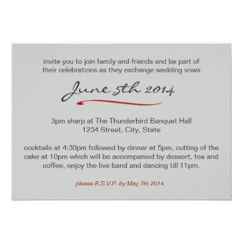 Small Elegant Red Rose Black And White Wedding Invitation Back View