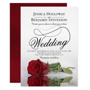 elegant red rose reflection romantic wedding invitation