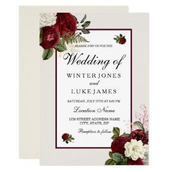 elegant romantic burgundy & white flowers wedding invitation