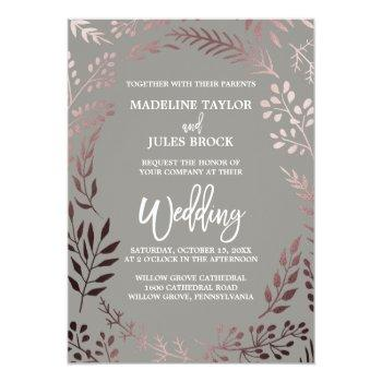 Small Elegant Rose Gold And Gray | Leafy Frame Wedding Invitation Front View
