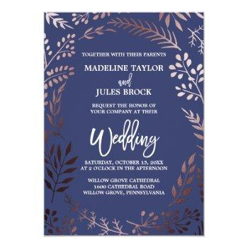 Small Elegant Rose Gold And Navy | Leafy Frame Wedding Invitation Front View