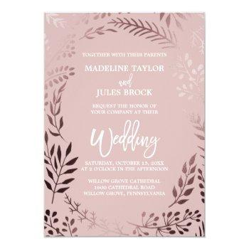 Small Elegant Rose Gold And Pink | Leafy Frame Wedding Invitation Front View