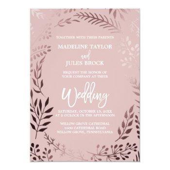 elegant rose gold and pink | leafy frame wedding invitation