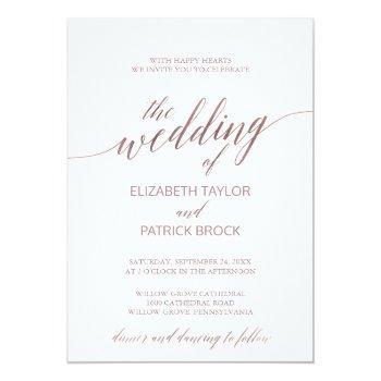 elegant rose gold calligraphy the wedding of invitation