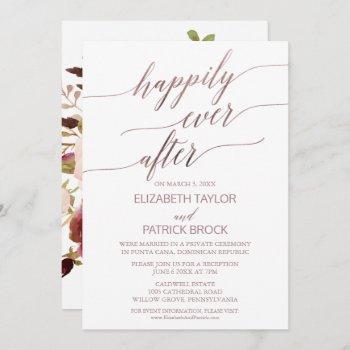 elegant rose gold floral back elopement invitation