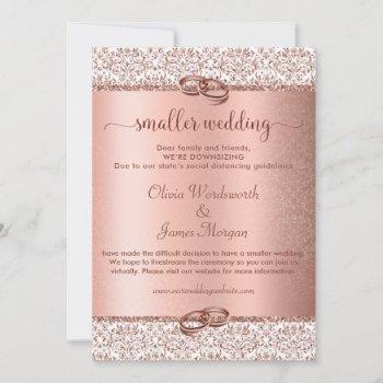 elegant rose gold glitter monogram smaller wedding invitation