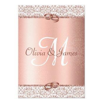 Small Elegant Rose Gold Glitter Monogram Smaller Wedding Invitation Back View