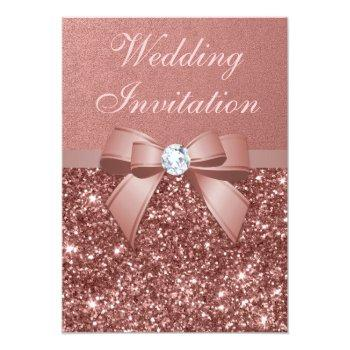 Small Elegant Rose Gold Wedding Diamonds Bow Glitter Invitation Front View