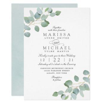 elegant rustic eucalyptus chic wedding invitation