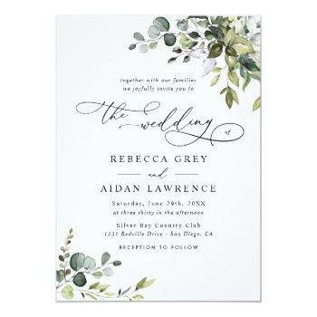 Small Elegant Rustic Eucalyptus Leaves Greenery Wedding Invitation Front View