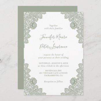elegant sage green lace wedding invitation