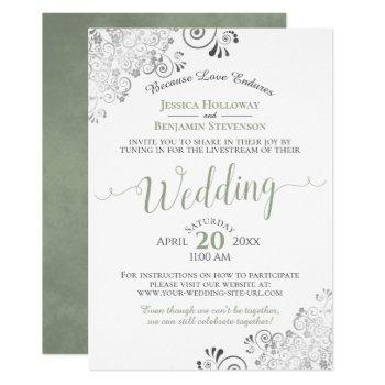 elegant sage green on white wedding livestream invitation