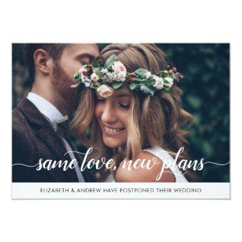 Small Elegant Same Love New Plans Change Of Date Photo Announcement Front View
