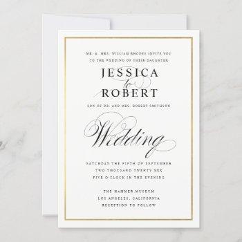 elegant script and gold border wedding invitation