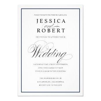 elegant script and navy border wedding invitation