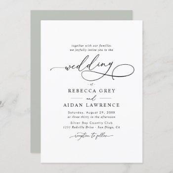 elegant script minimal wedding invitation