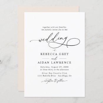 elegant script simple wedding invitation