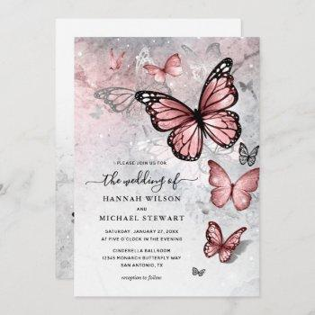 elegant silver and pink butterfly wedding invitation