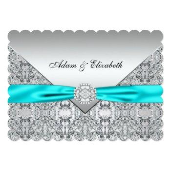 elegant silver and teal blue lace wedding invitation