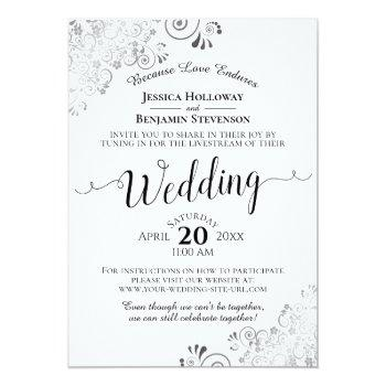 Small Elegant Silver, Black & White Wedding Livestream Invitation Front View